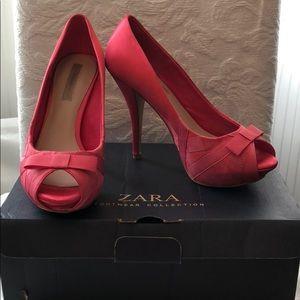 Zara hot pink silk heels